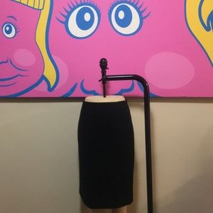 J Crew Black Wool Felt Pencil Skirt